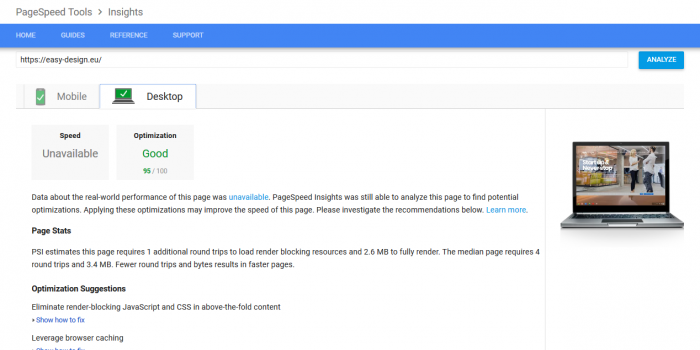 PageSpeed Google - Desktop 95