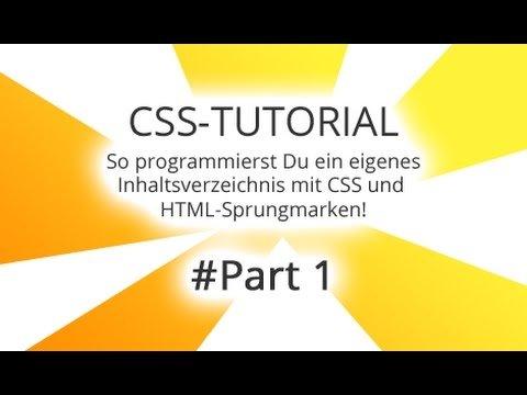 CSS Tutorial Deutsch Anfänger - Inhaltsverzeichnis erstellen Part 1/8