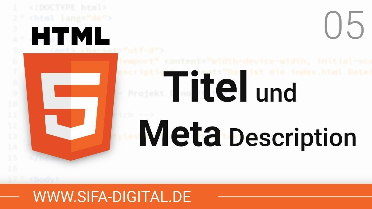 HTML Grundkurs: Title-Tag und Meta Description #05 (4K) | SIFA Digital