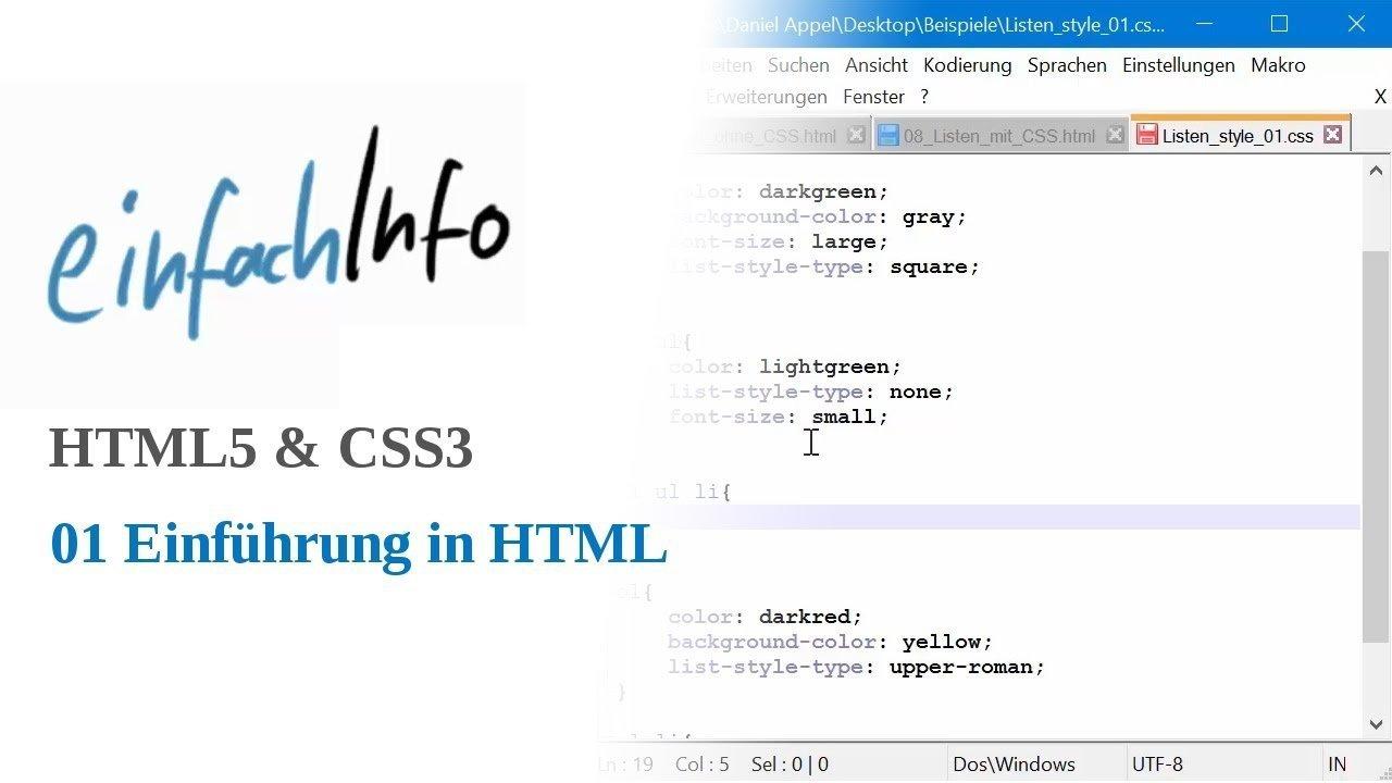 HTML5 & CSS3 01: Einführung und Grundgerüst