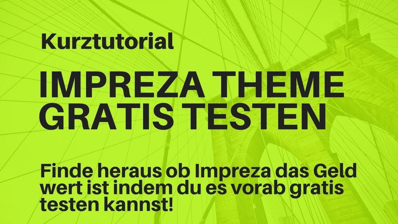 Impreza Theme Wordpress gratis testen | Kurztutorial