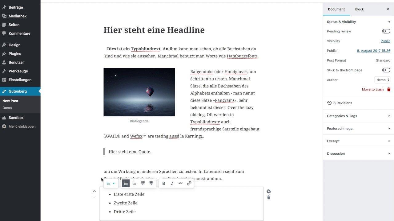 Neuer «Gutenberg»-Editor für Wordpress