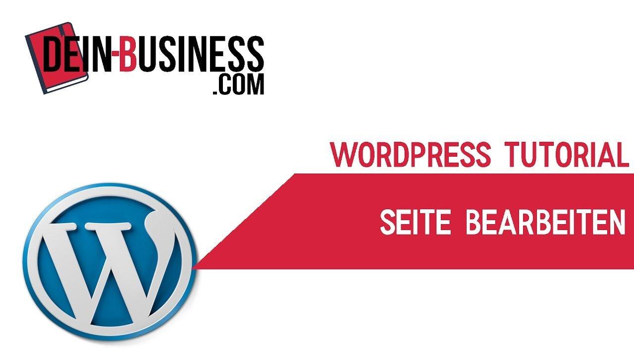 Seite bearbeiten Wordpress Anfänger Tutorial