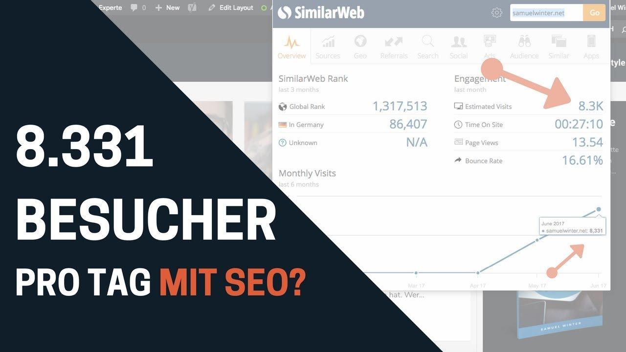 SEO Optimierung 2017 - 8.331 Besucher pro Monat auf NEUEM Wordpress Blog