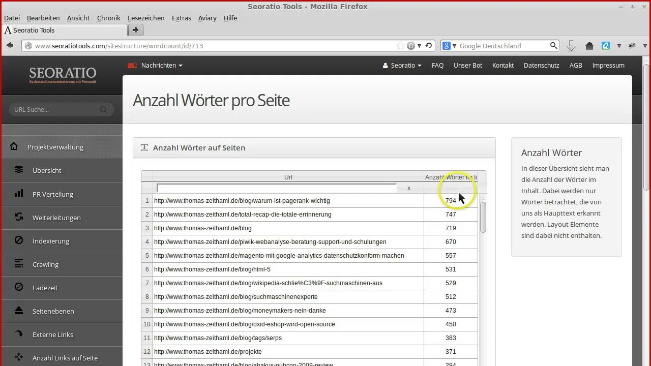Seoratiotools -  Anzahl der Wörter einer Seite- SEO Texte schreiben? - Teil 14