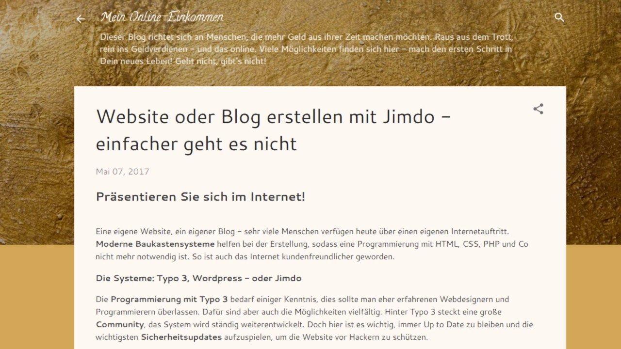 Website oder Blog erstellen mit Jimdo - einfacher geht es nicht