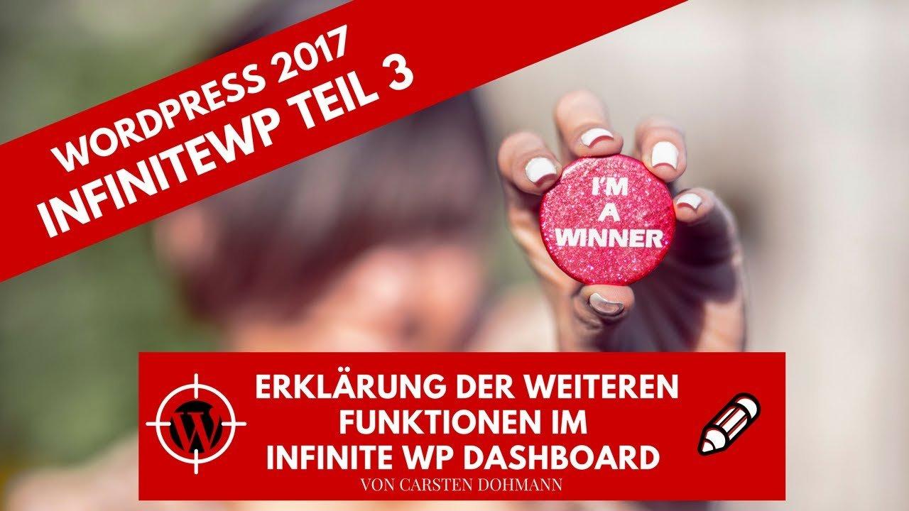 WordPress 2017 - InfiniteWP - Erklärung der Funktionen im Dashboard