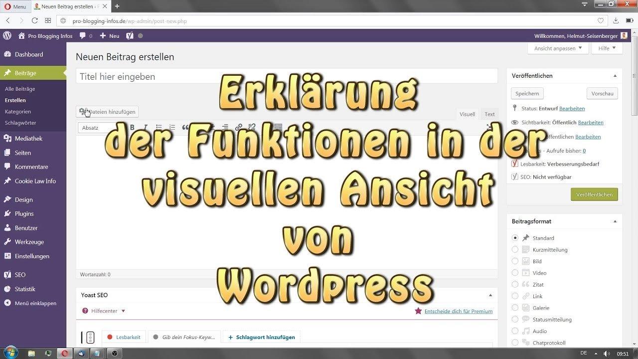 Wordpress Erklärung der Funktionen in der visuellen Ansicht
