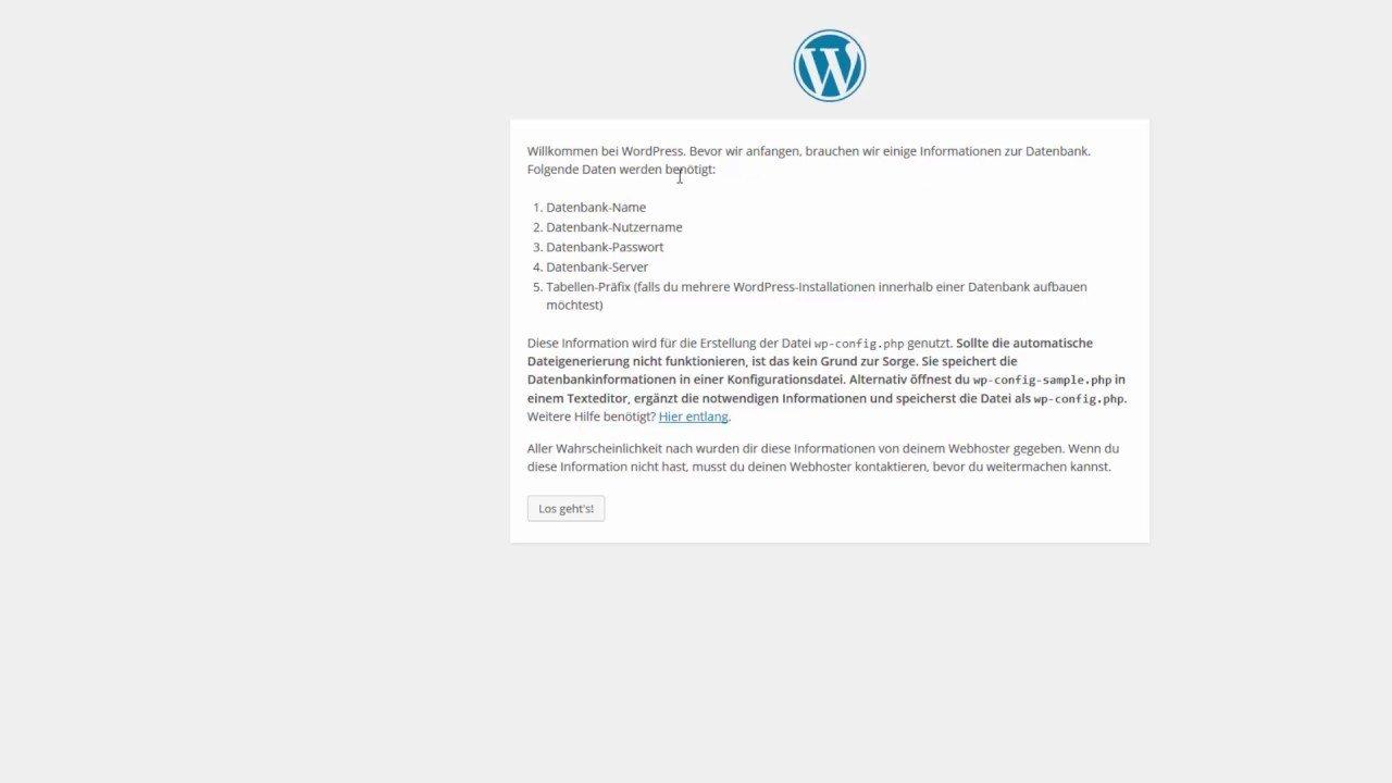 WordPress installieren (Anleitung auf Deutsch)