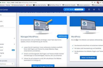 Wordpress Instanz erstellen mit 1&1