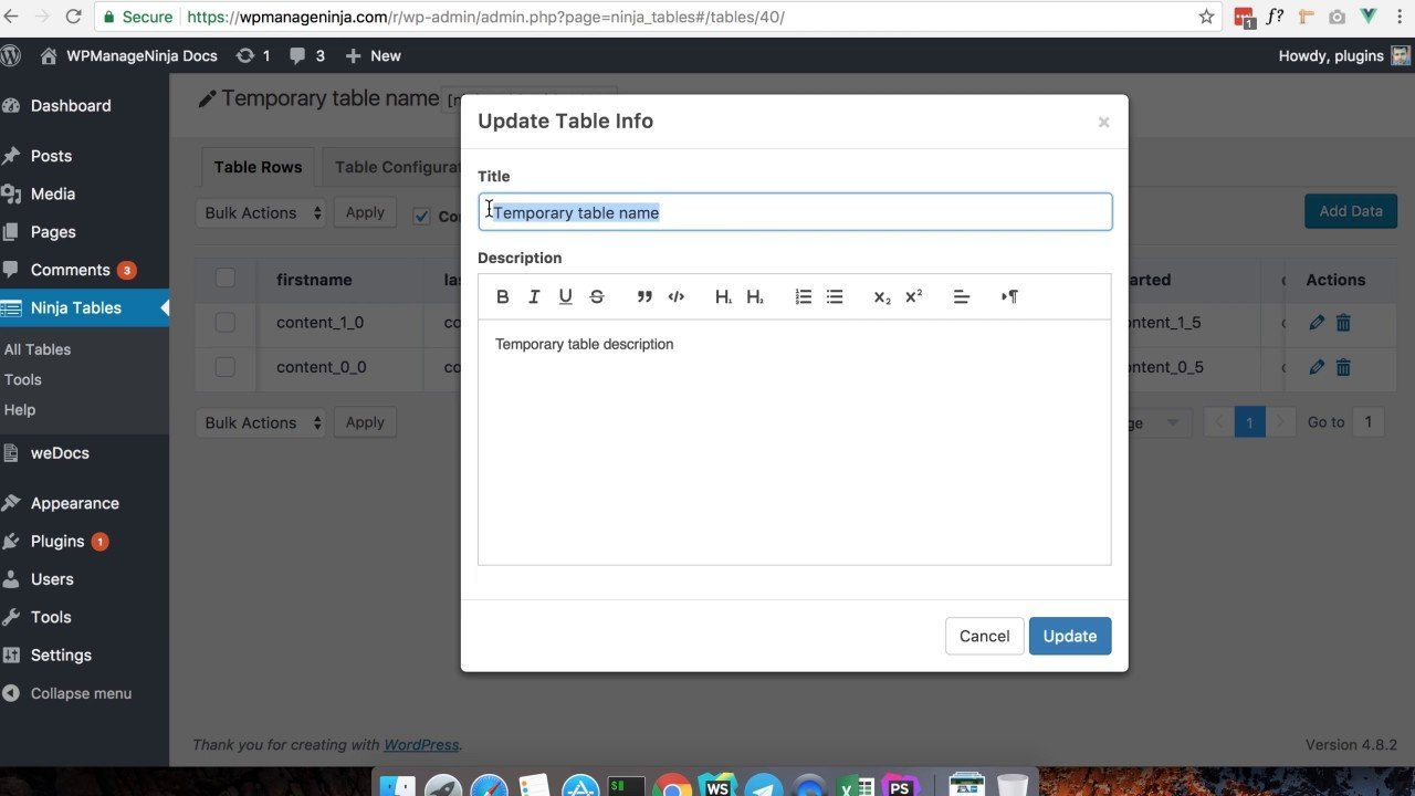 How to Import Table from CSV in WordPress using Ninja Tables Plugin