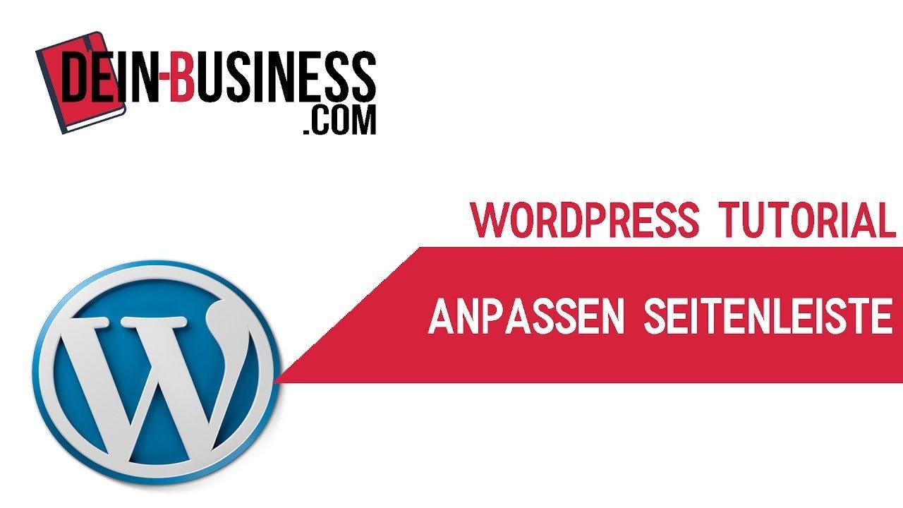 Seitenleiste mit Widget anpassen Wordpress Anfänger Tutorial