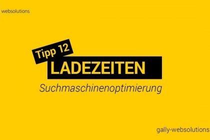 Suchmaschinenoptimierung (SEO) Tipp 12 Ladezeit