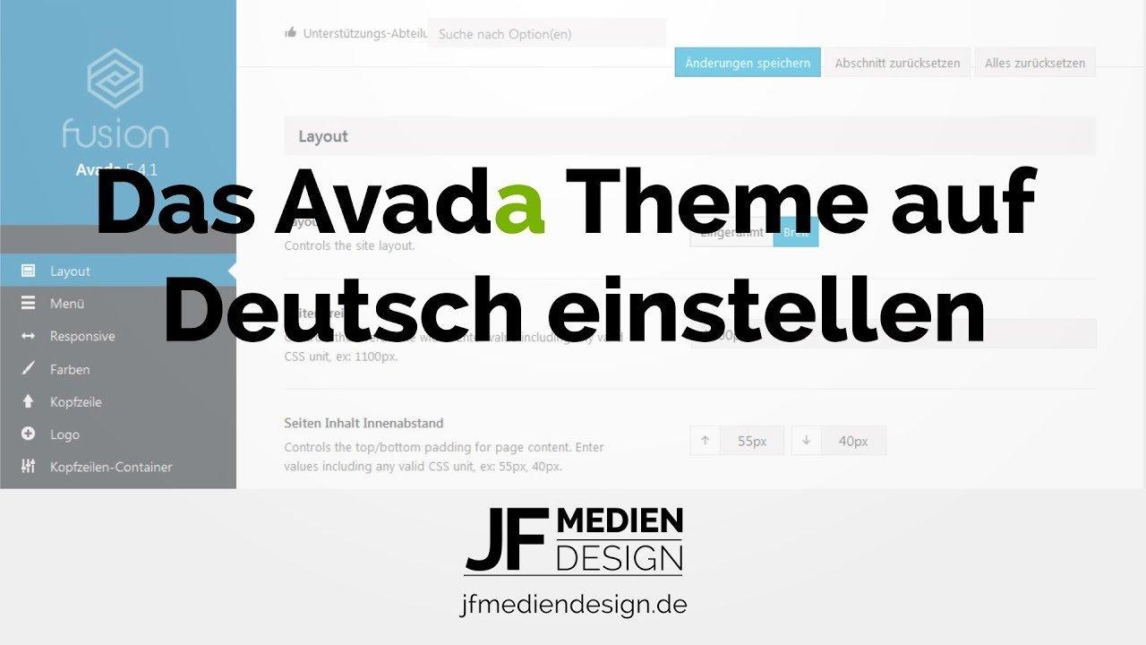 Avada Theme auf Deutsch einstellen