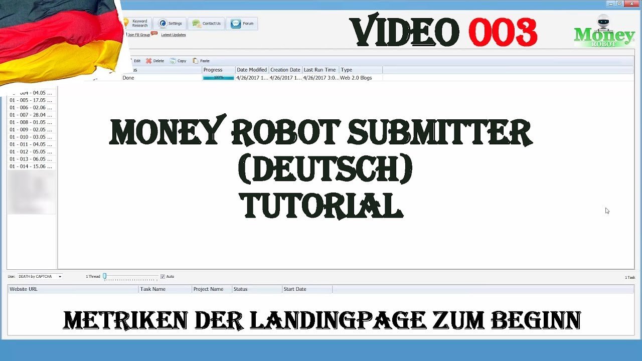 Money Robot Submitter Deutsch - Deutschsprachige Tutorial Serie für Backlinks aufbauen [003]