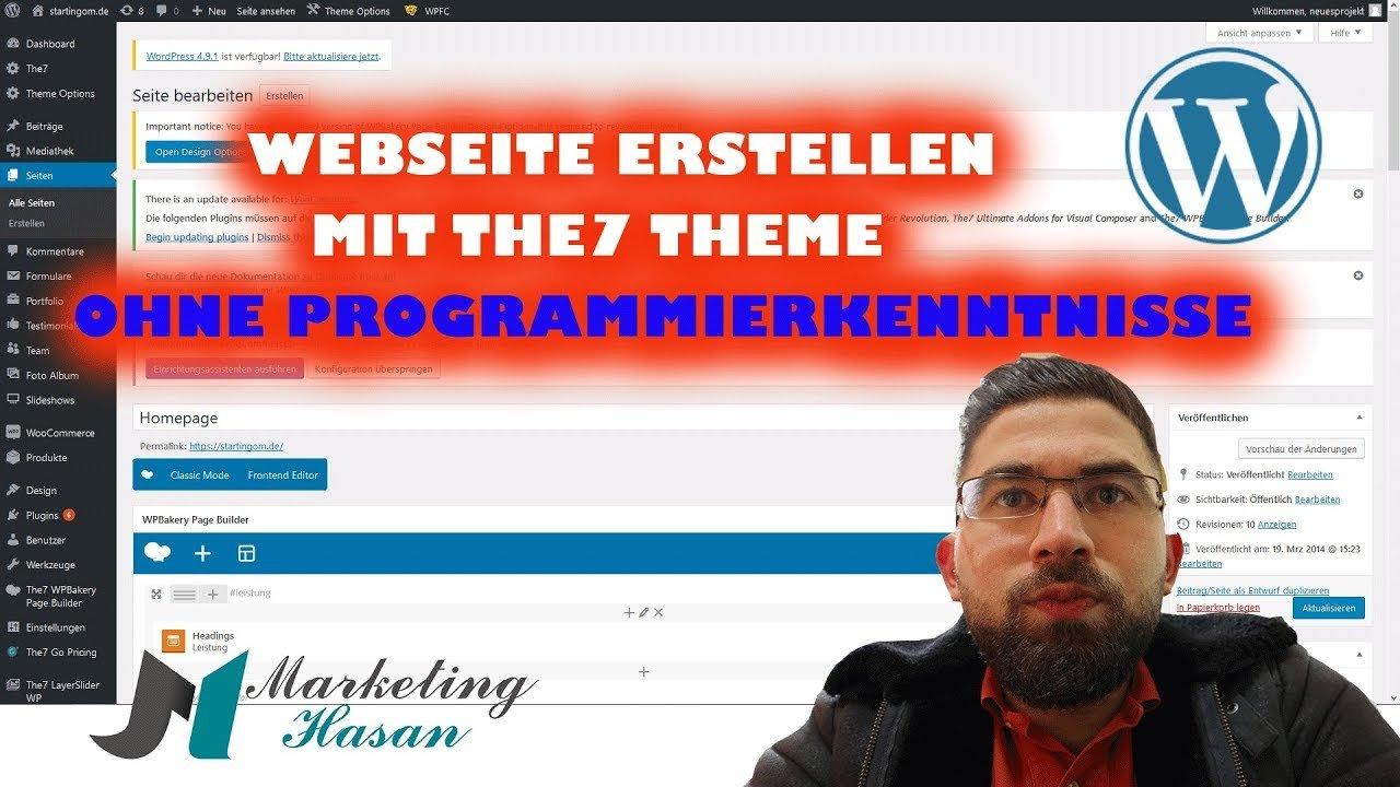 Webseite erstellen ohne Programierkenntnisse mit WordPress und The7 Theme | + Beispielprojekt
