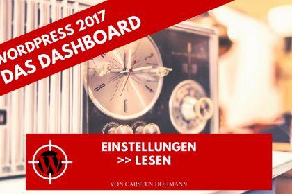WordPress 2017 - Dashboard Einstellungen Lesen