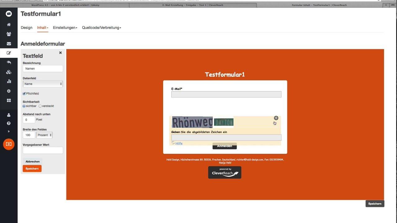 04 CleverReach Formular erstellen und Code einbetten in Wordpress / Tutotrial 2017
