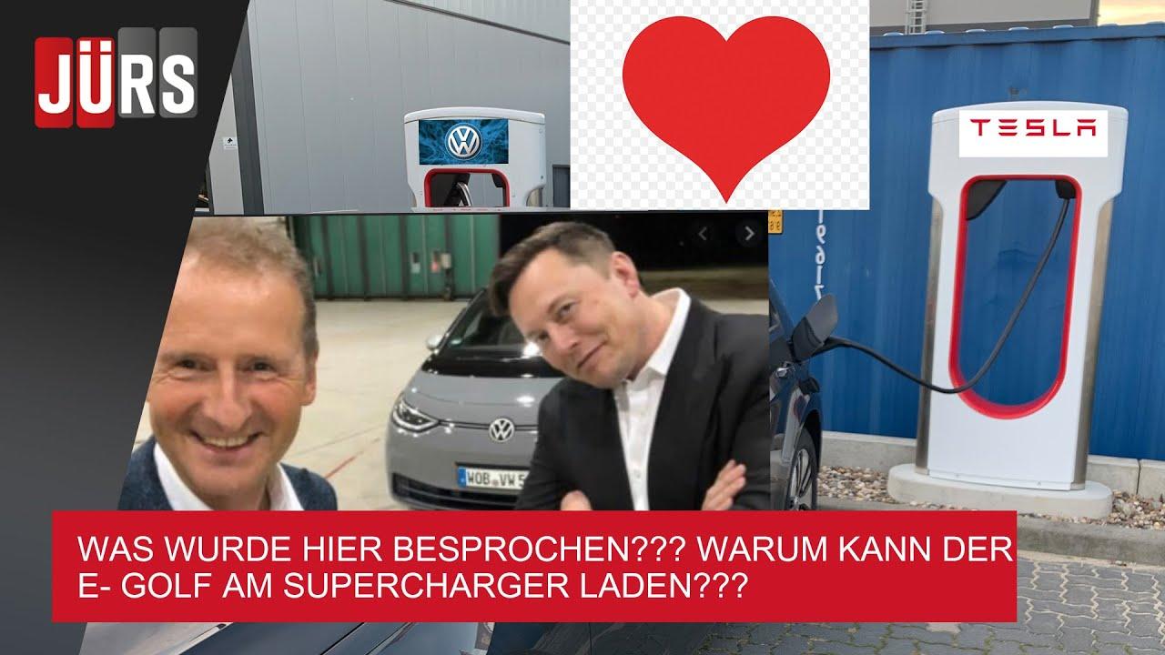 E Golf lädt am Tesla Supercharger- kostenlos- Model 3 muss zahlen