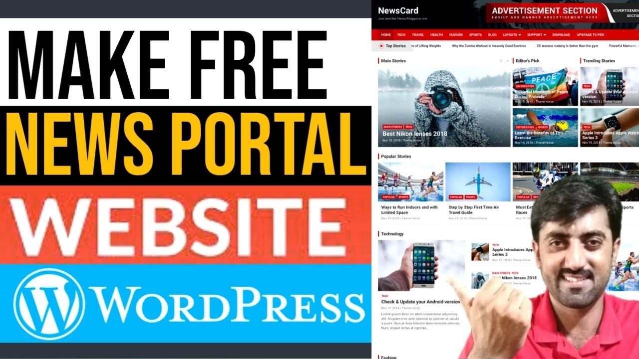 How to Make a FREE News Portal Blog Website with WordPress - NewsCard Theme Hindi Urdu Tutorial 2021