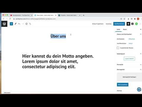 Unterseiten auf Wordpress erstellen und Verlinken (Projektübersicht)