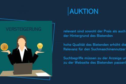 Videokurs Suchmaschinenwerbung (SEA) - Auktion der Werbeplätze