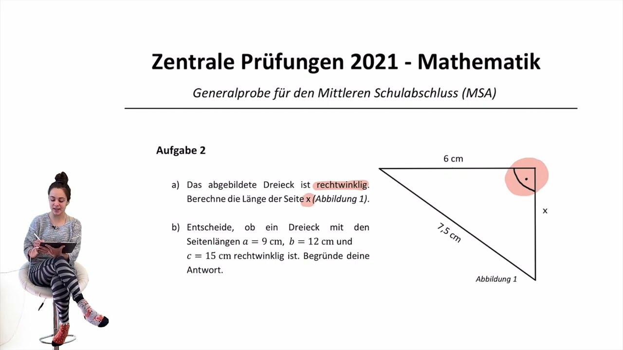 ZP 10 NRW 2021 | Zentrale Prüfung MSA | Übungsaufgabe zur Generalprobe  | Satz des Pythagoras