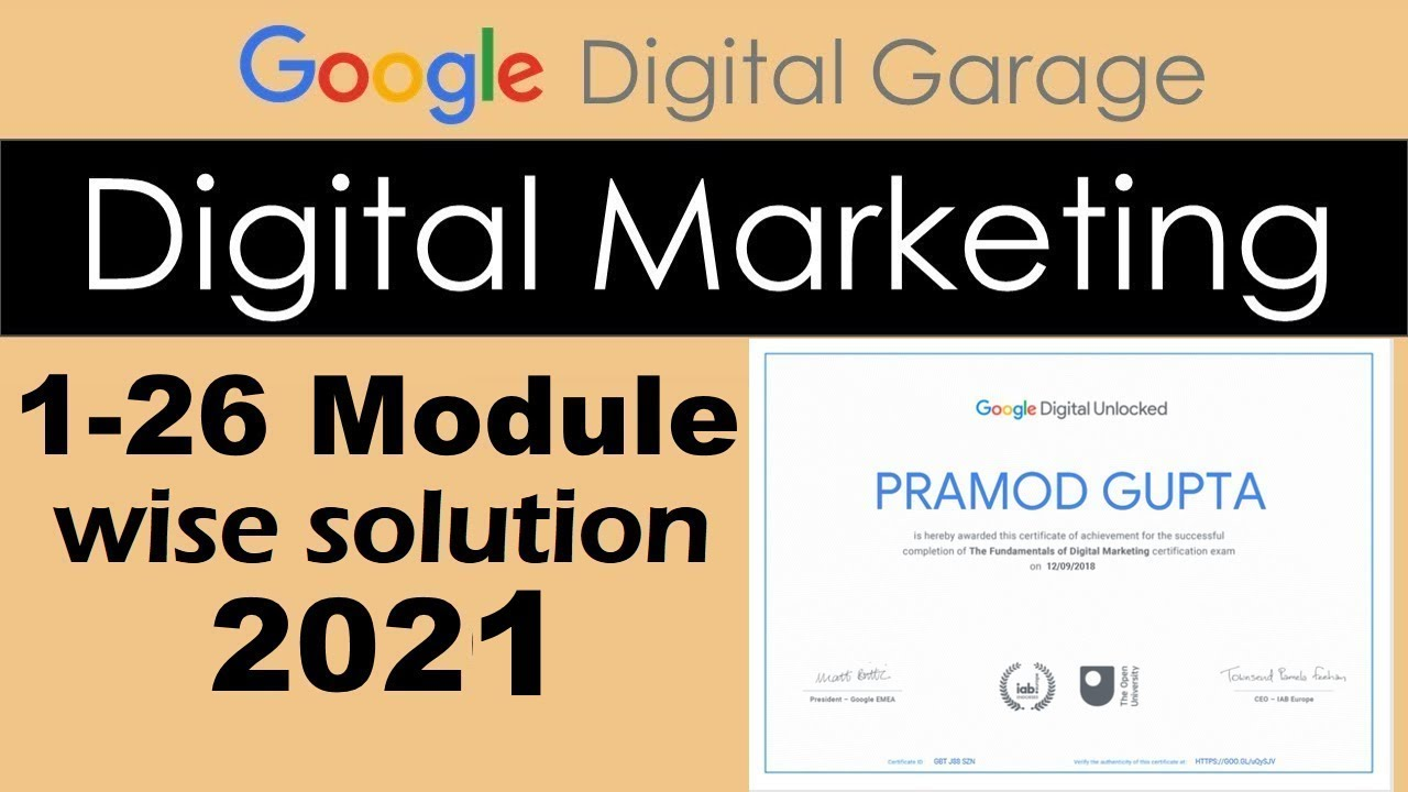 Google Digital Garage ||All Module Answer With Assessment