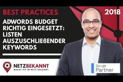 """AdWords Negative Keywords [Tutorial] ᐅ Budget besser einsetzen ᐅ """"Liste auszuschließender Keywords"""""""