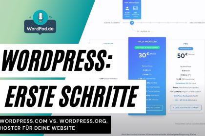 Erste Schritte mit Wordpress, Hoster für deine Website, Unterschiede wordpress.org/.com